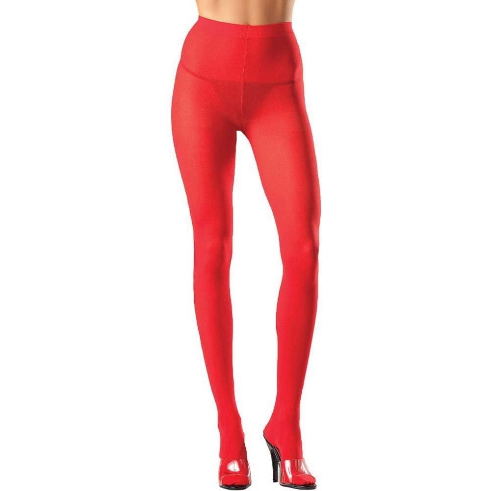 Be Wicked Opaque Nylon Pantyhose Sexy Lingerie One Size Hot Red - View #1