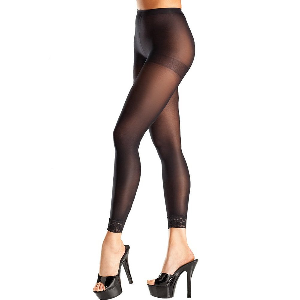 Opaque Footless Tights W/Lace Trim Black O/S - View #1