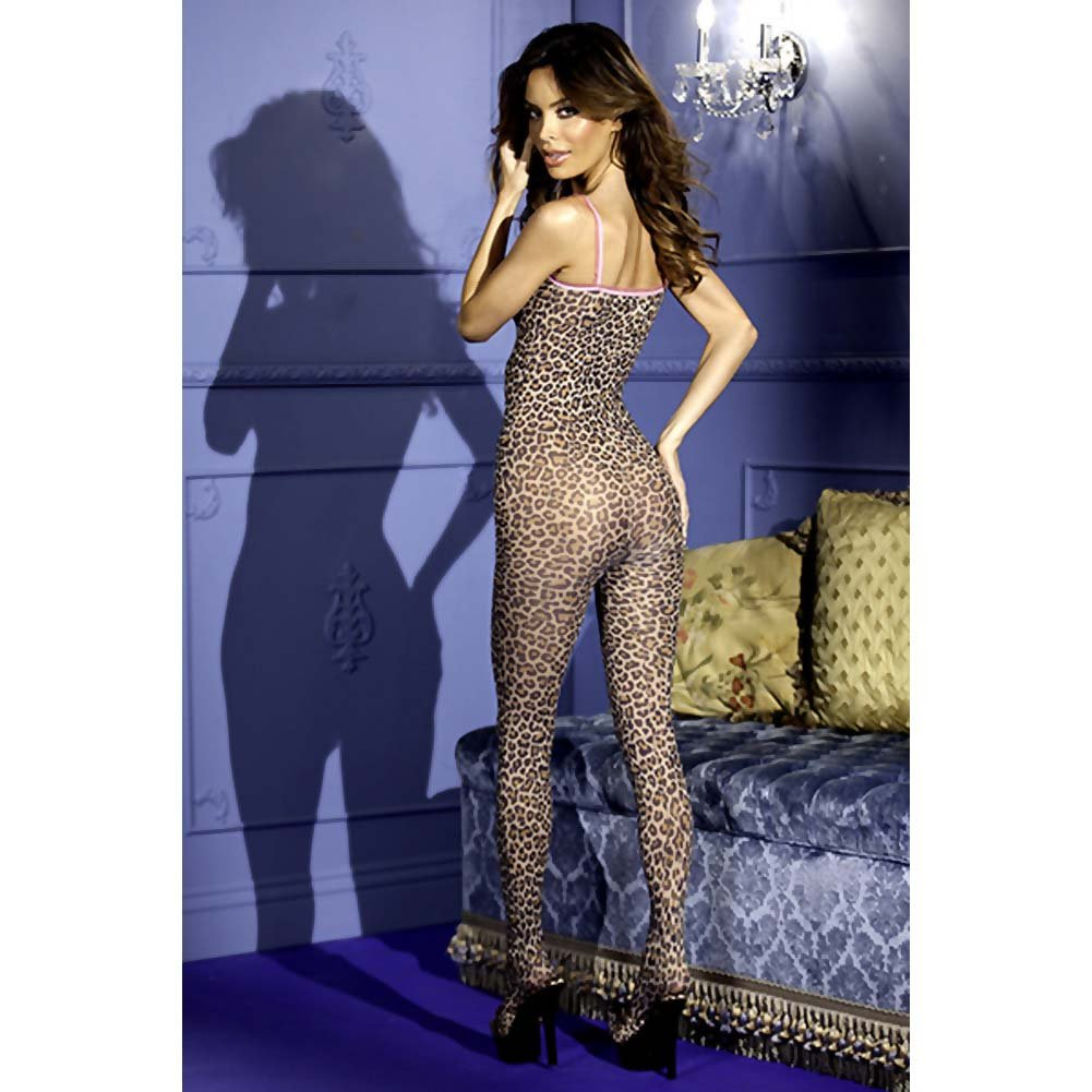 Leopard Print Crotchless Bodystocking W/Bows Leopard O/S - View #2