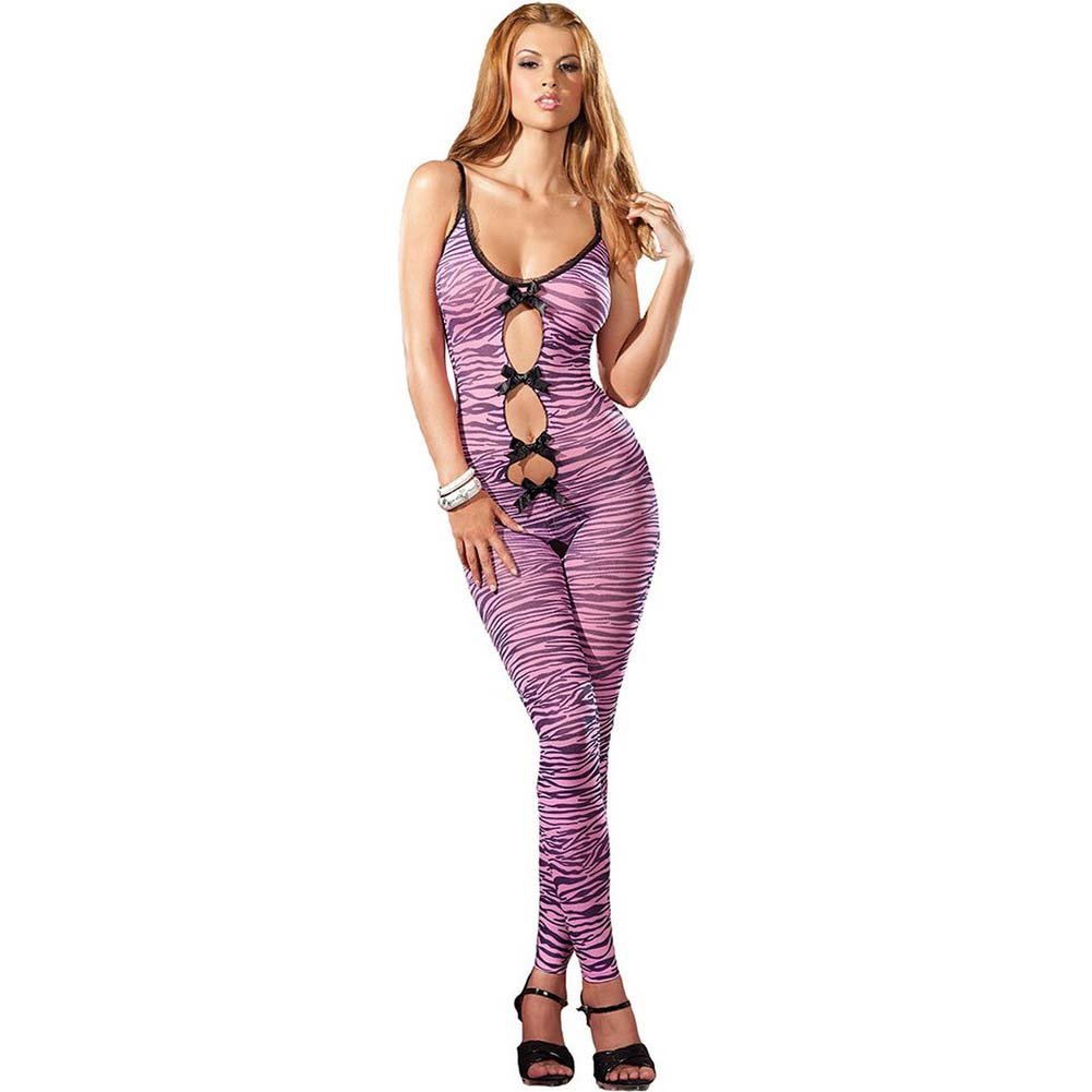 Zebra Print Footless Crotchless Bodystocking Pink O/S - View #1