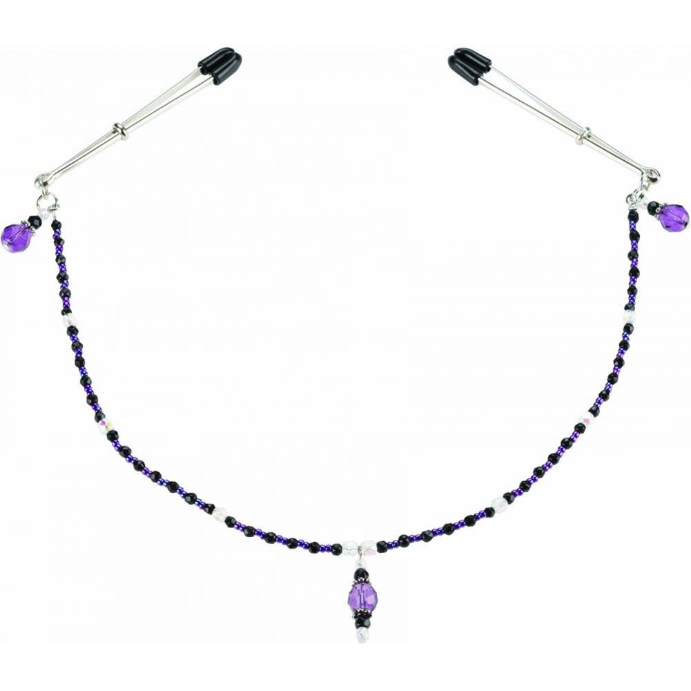 "Spartacus Single Strand Beaded Nip Clamp 12"" Purple - View #1"