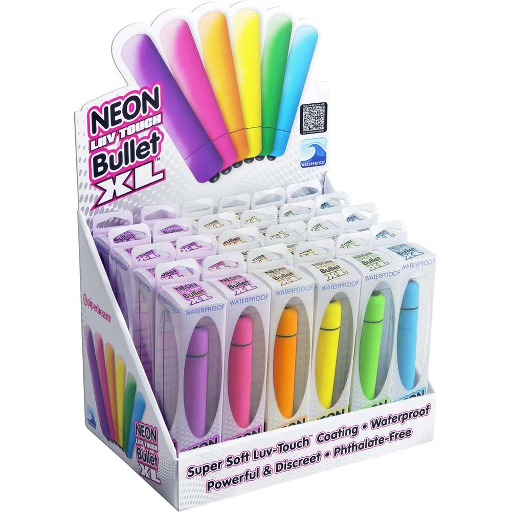 "Neon Luv Touch Vibrating Bullet XL 3.25"" 24 Count Display Case - View #1"