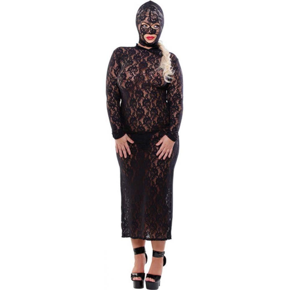 Fetish Fantasy Stretch Lace Disgrace Gown G-String and Hood Diva Size Black - View #1
