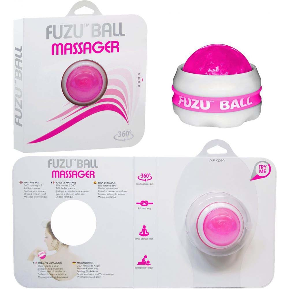 Deeva Toys Tension Relief Fuzu Roller Ball Massager Raspberry - View #3
