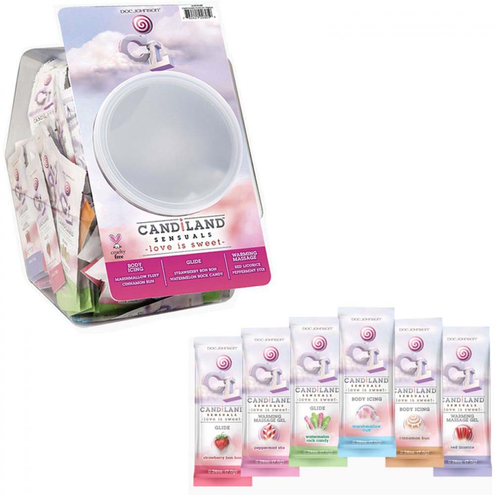 Doc Johnson CANDiLAND Flavored Sensual Lubes Fishbowl Display of 144 Pouches 0.24 Oz Each - View #1