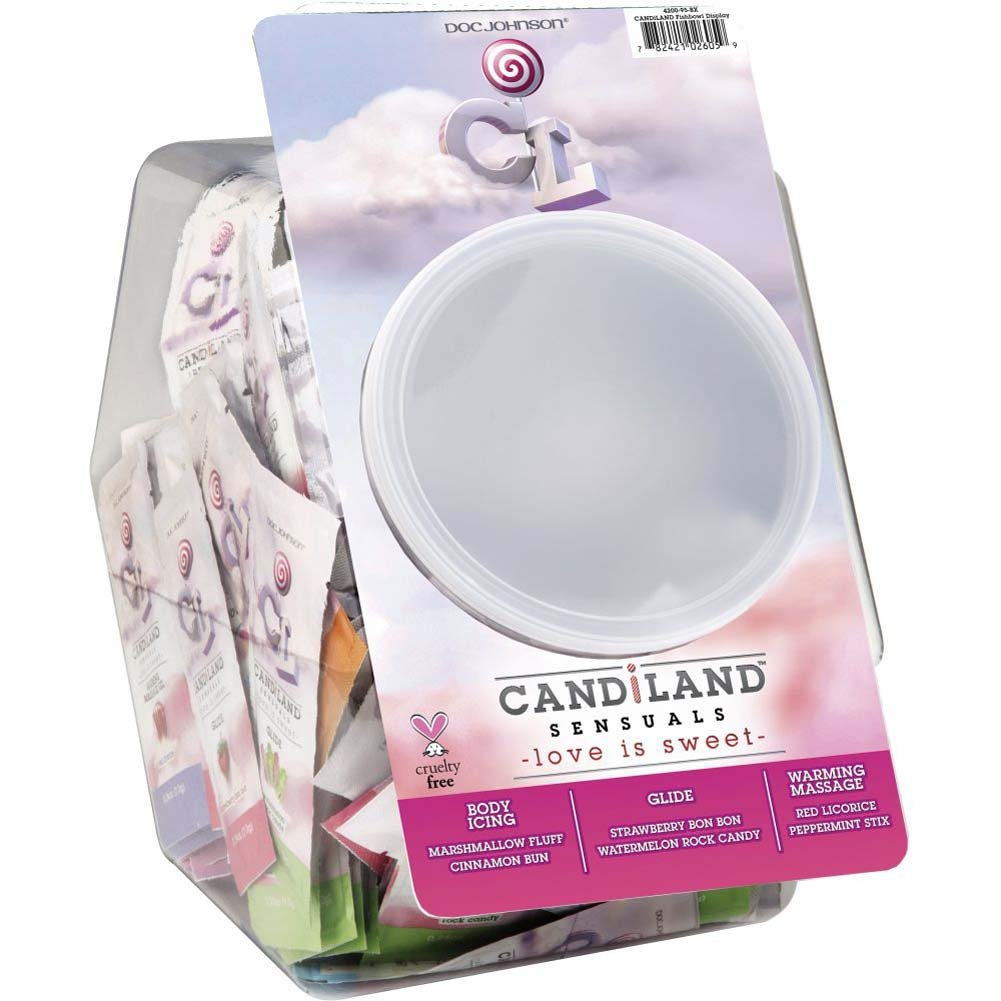 Doc Johnson Candiland Flavored Sensual Lubes Fishbowl Display of 144 Pouches 0.24 Oz Each - View #3