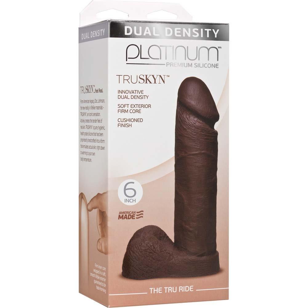 "Doc Johnson Platinum Truskyn Tru Ride Dildo 6"" Chocolate - View #1"