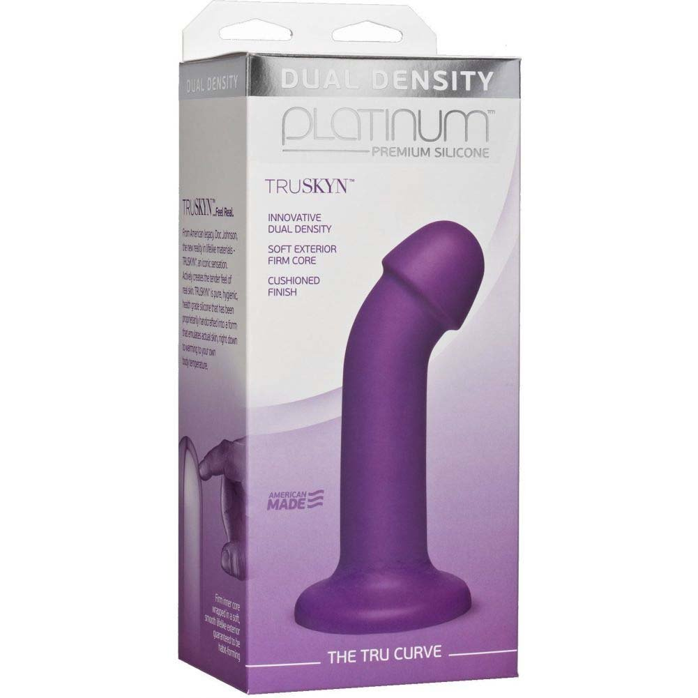 "Doc Johnson Platinum Truskyn the Tru Curve Dildo 6.5"" Purple - View #1"