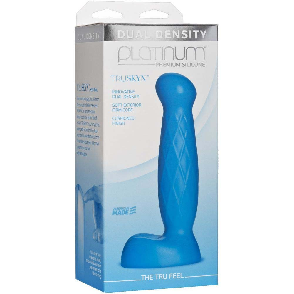 "Doc Johnson Platinum Truskyn the Tru Feel Dildo 6.5"" Blue - View #1"