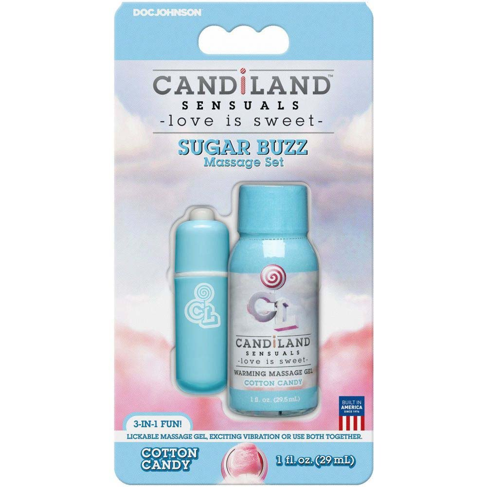 CANDiLAND Sugar Buzz Massage Set with Warming Gel and Bullet Vibe Cotton Candy - View #1