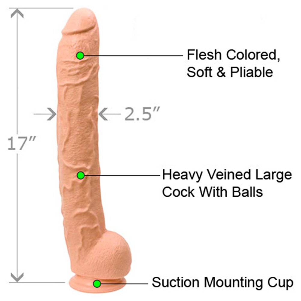 "Doc Johnson Classic Dick Rambone Cock Dildo 17"" Natural BULK - View #1"