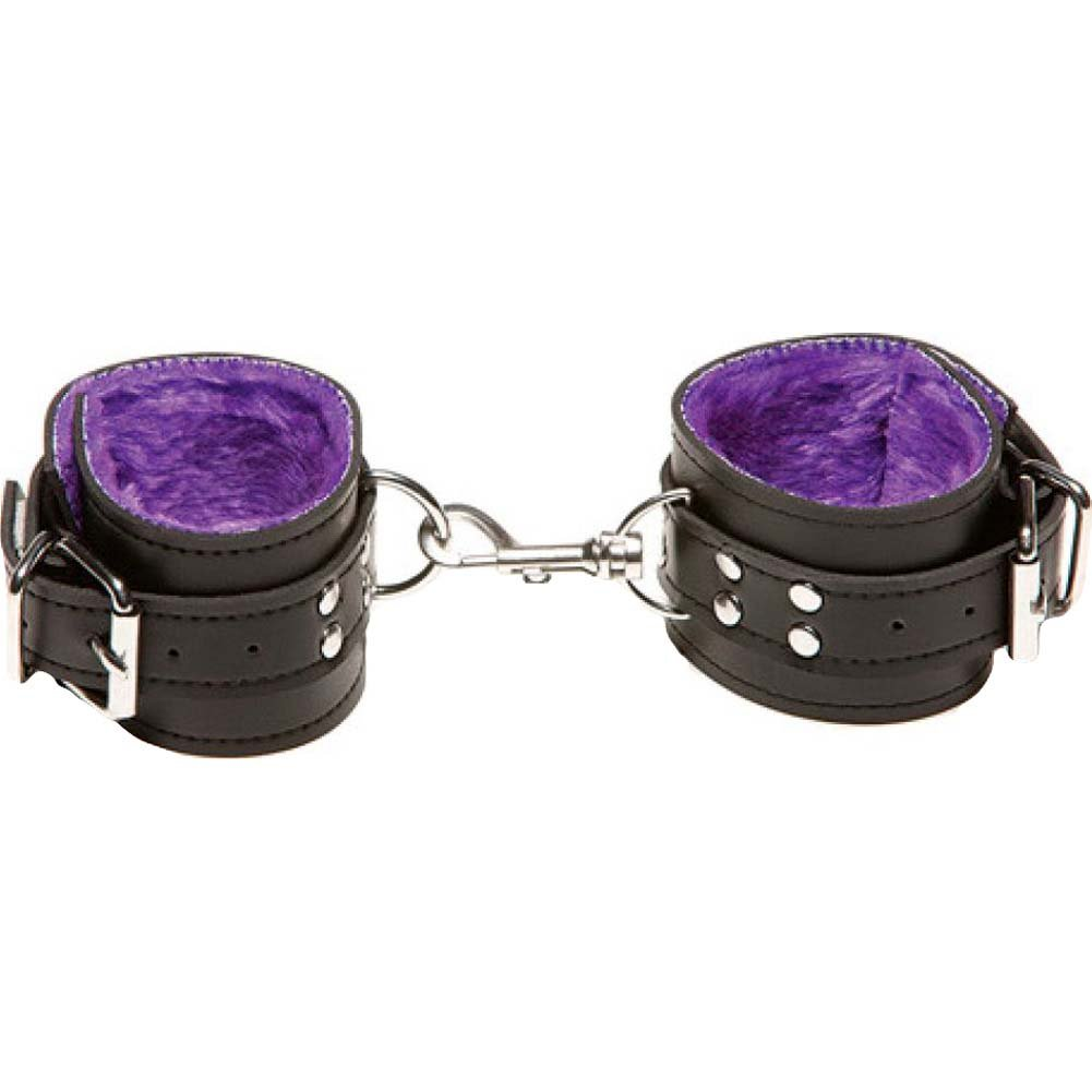 Xplay Passion Fur Wrist Cuffs Fur Lined in Purple - View #2