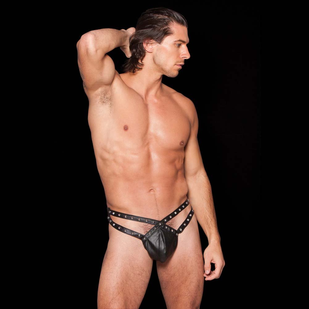 Noir Faux Leather Strappy Studded Thong with an Elastic Waistband Black One Size - View #3