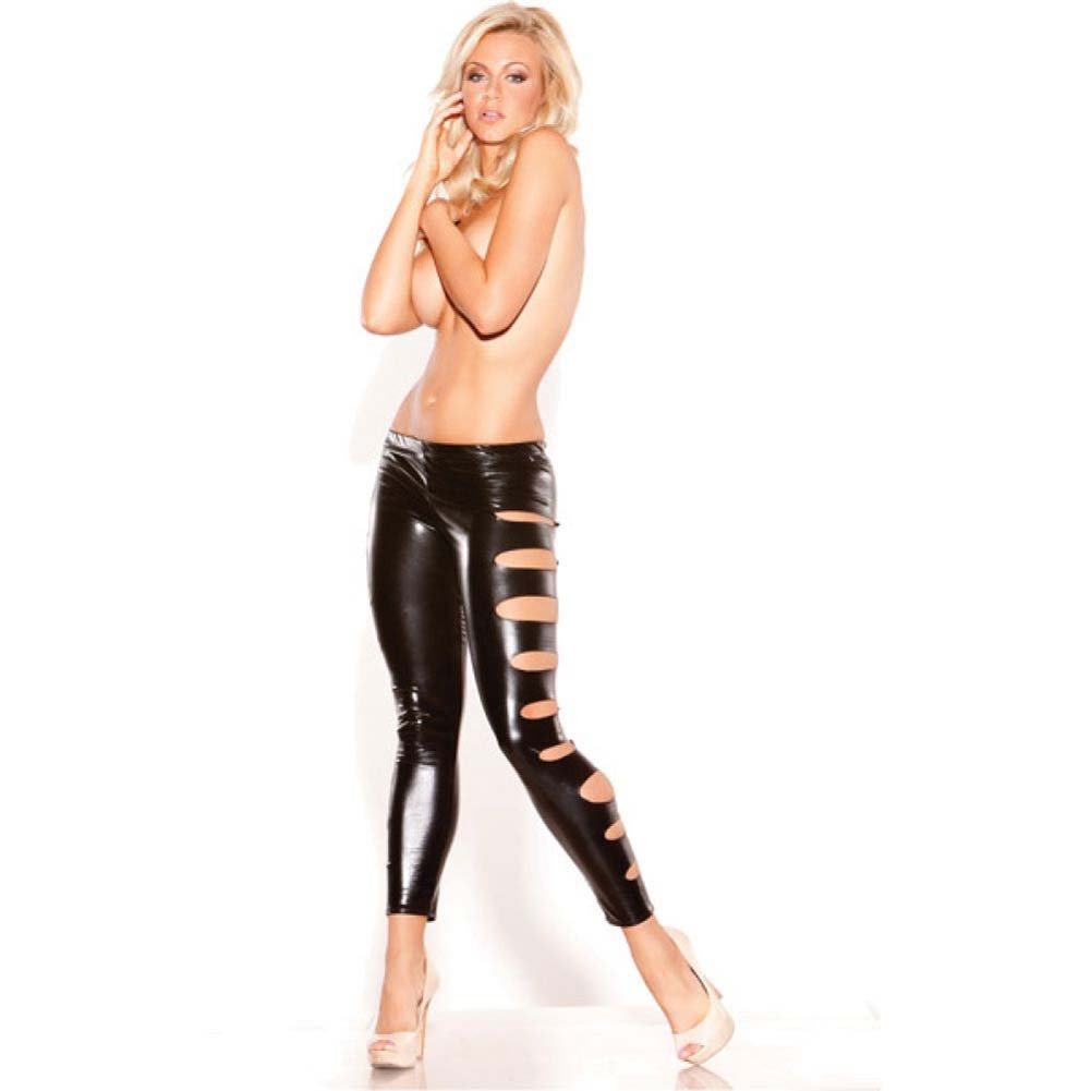 Kitten Wet Look Femme Fatale Leggings Black One Size - View #1