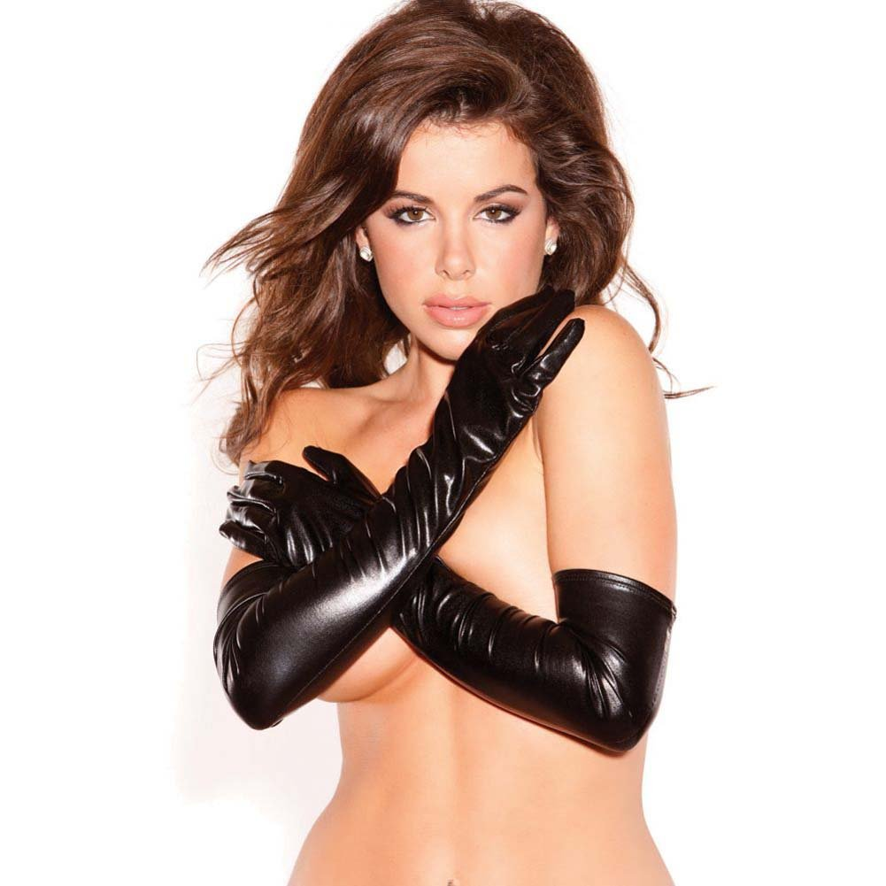 Allure Lingerie Kitten Wet Look Sexy Seduction Gloves One Size Black - View #2