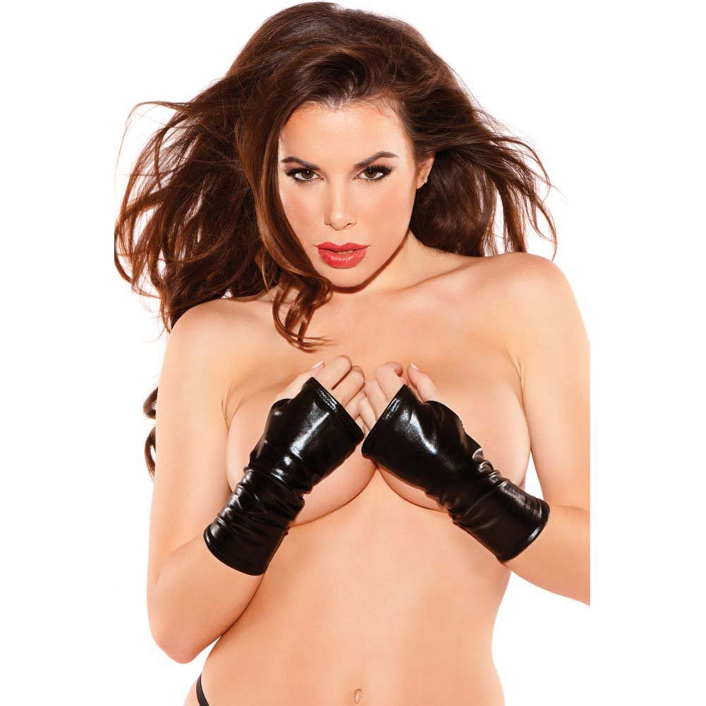 Kitten Wet Look Mini Gloves Black One Size - View #1