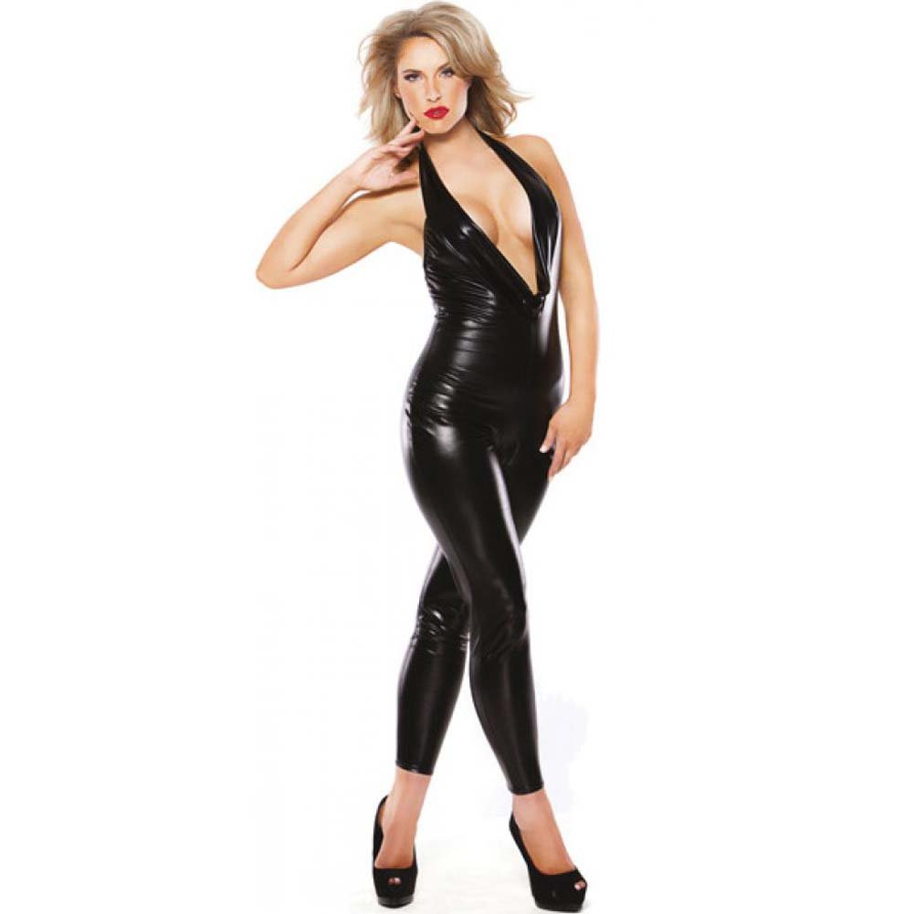 Kitten Wet Look Low Cut Body Suit Black One Size - View #1