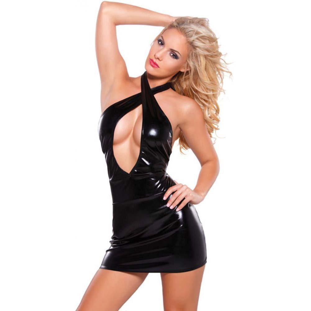 Kitten Wet Look Criss Cross Dress Black One Size - View #1