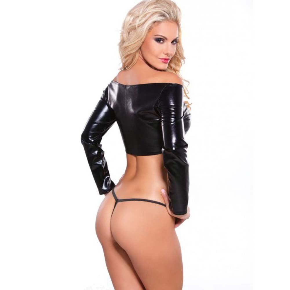 Kitten Wetlook Off Shoulder Top and G-String Set Black One Size - View #2