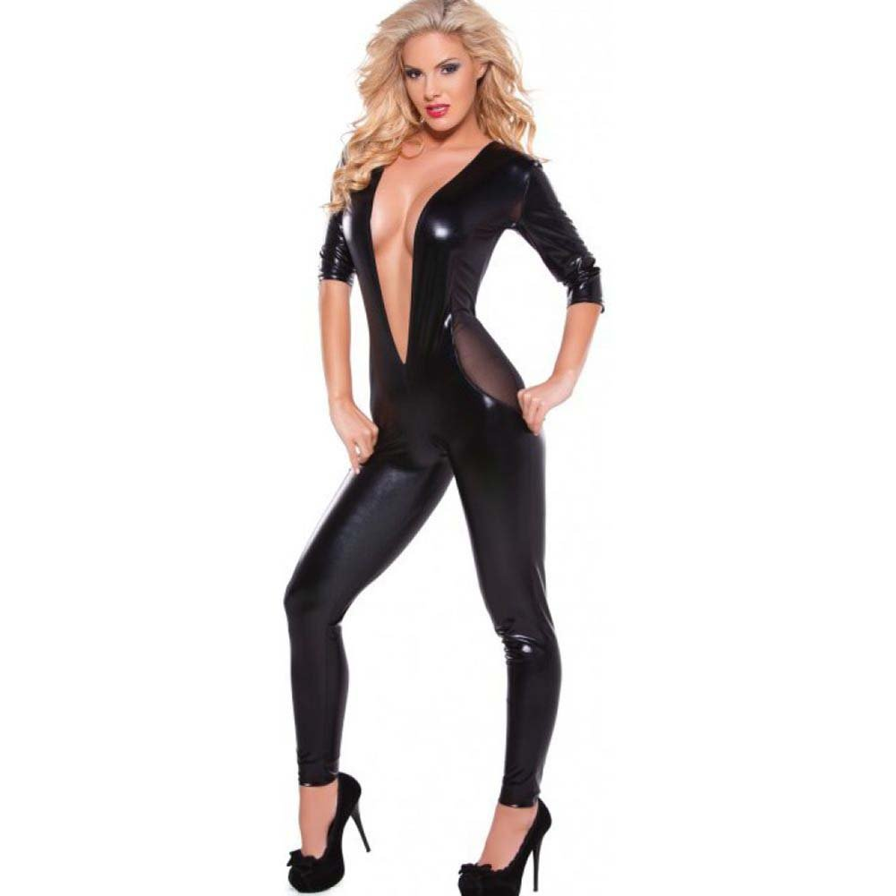 Kitten Wet Look and Mesh Catsuit with Low Cut V Front Black One Size - View #1