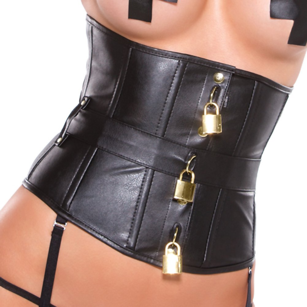 Faux Leather Underbust Padlock Corset with Garters Pasties G-String and Keys One Size Black - View #3