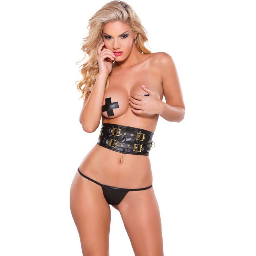 Faux Leather Belt Pasties and G-String Set with Gold Detail Black One Size - View #1