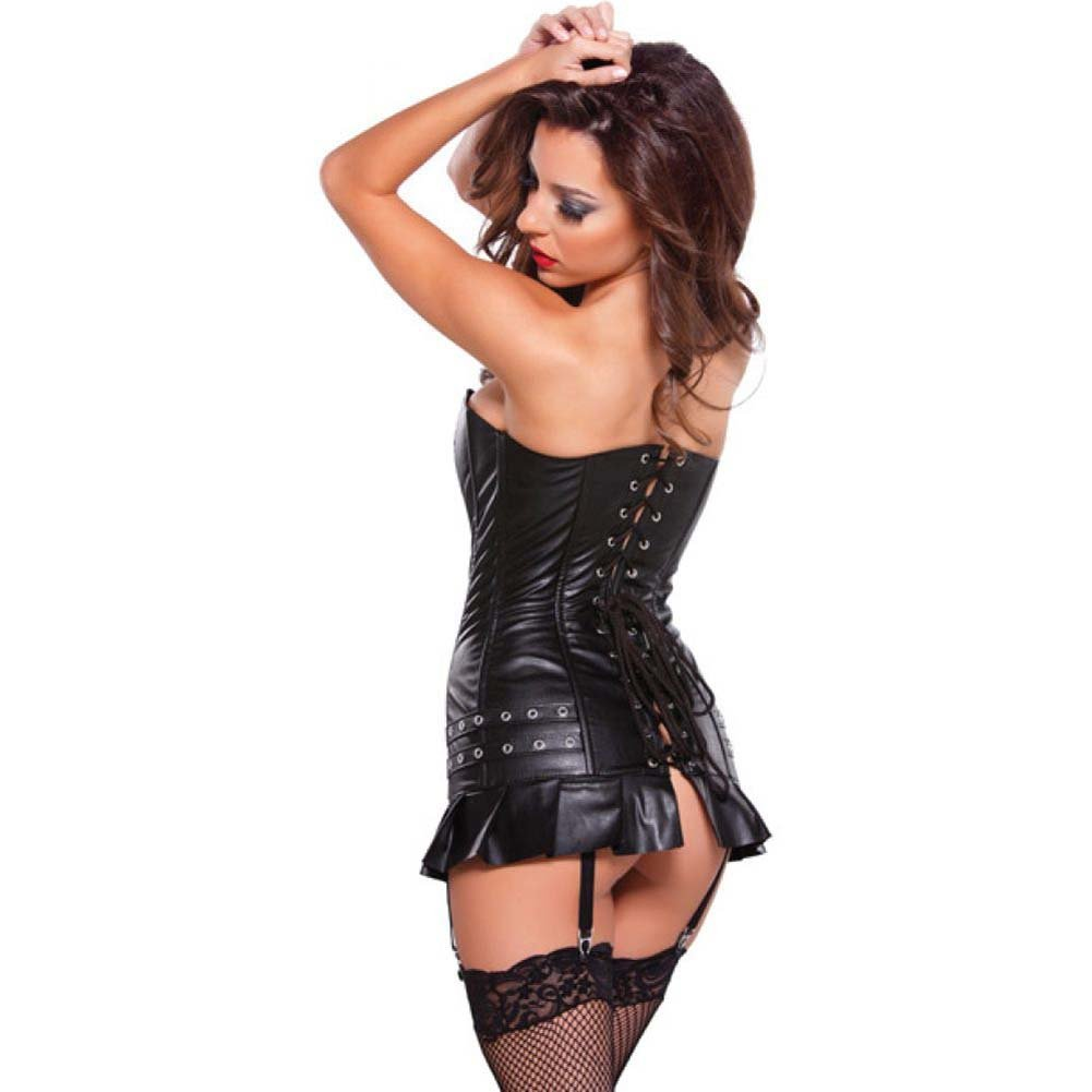 Faux Leather Corset Dress with Silver Detail Black Extra Large - View #2