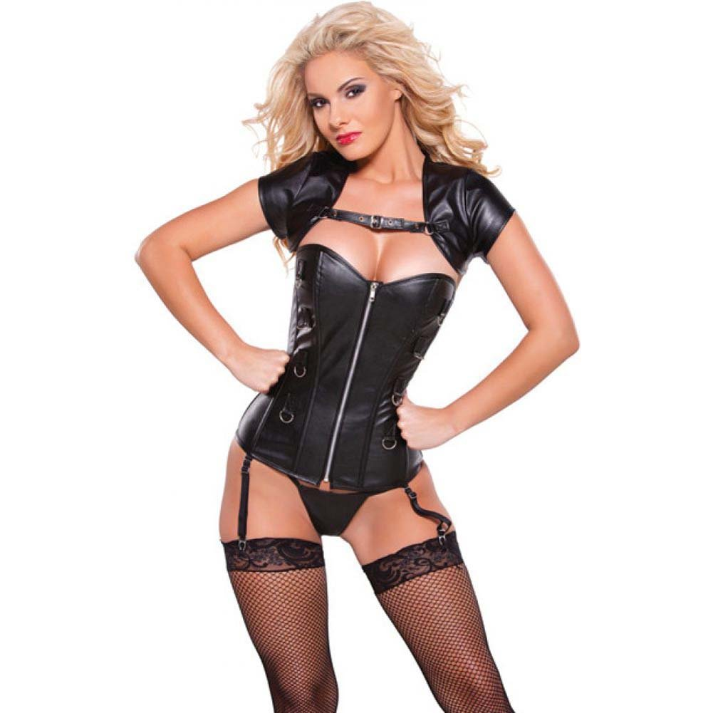 Allure Lingerie Faux Leather Corset and Bolero Top Small Black - View #1