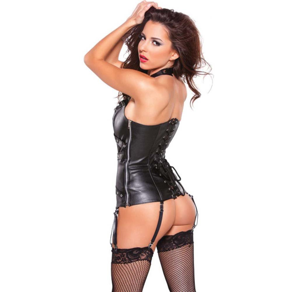 Allure Lingerie Faux Leather Halter Corset with Silver Detail Garters and G-String Small Black - View #2