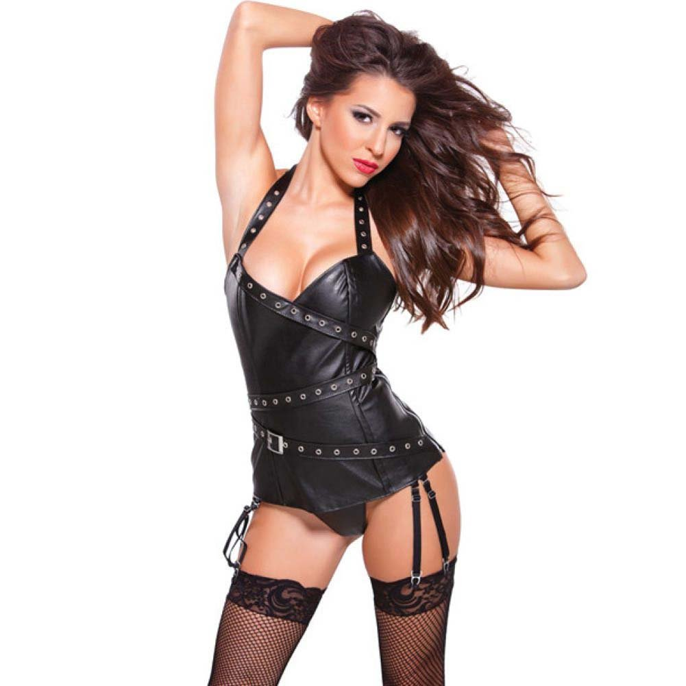 Faux Leather Halter Corset with Silver Detail Black Medium - View #1