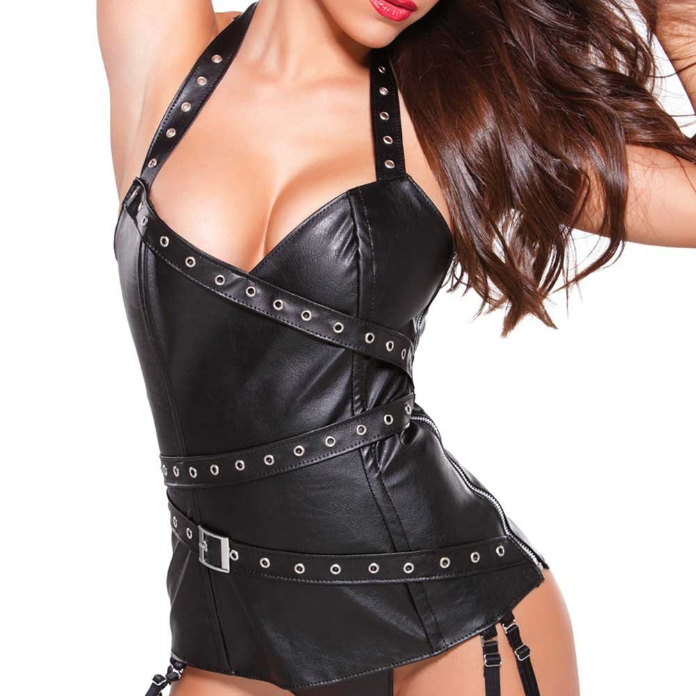 Faux Leather Halter Corset with Silver Detail Black Medium - View #3