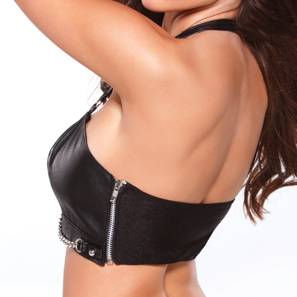 Faux Leather Bustier with Silver Chain Detail Black Large - View #2