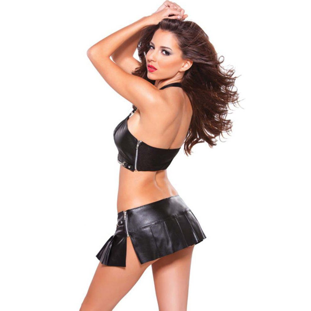 Allure Lingerie Faux Leather Bustier with Silver Chain Detail and G-String Large Black - View #4