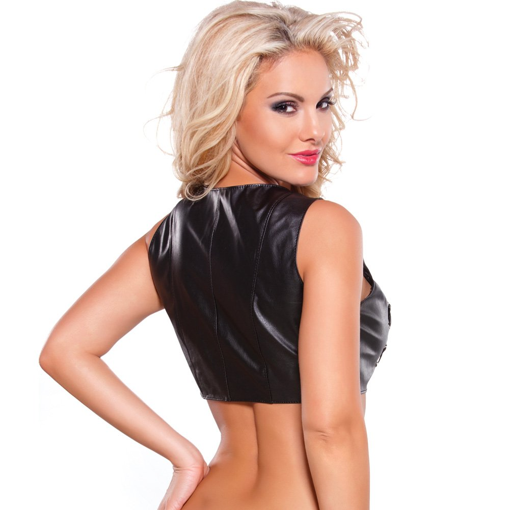 Faux Leather Lace Up Bustier with Silver Detail Black Small - View #2