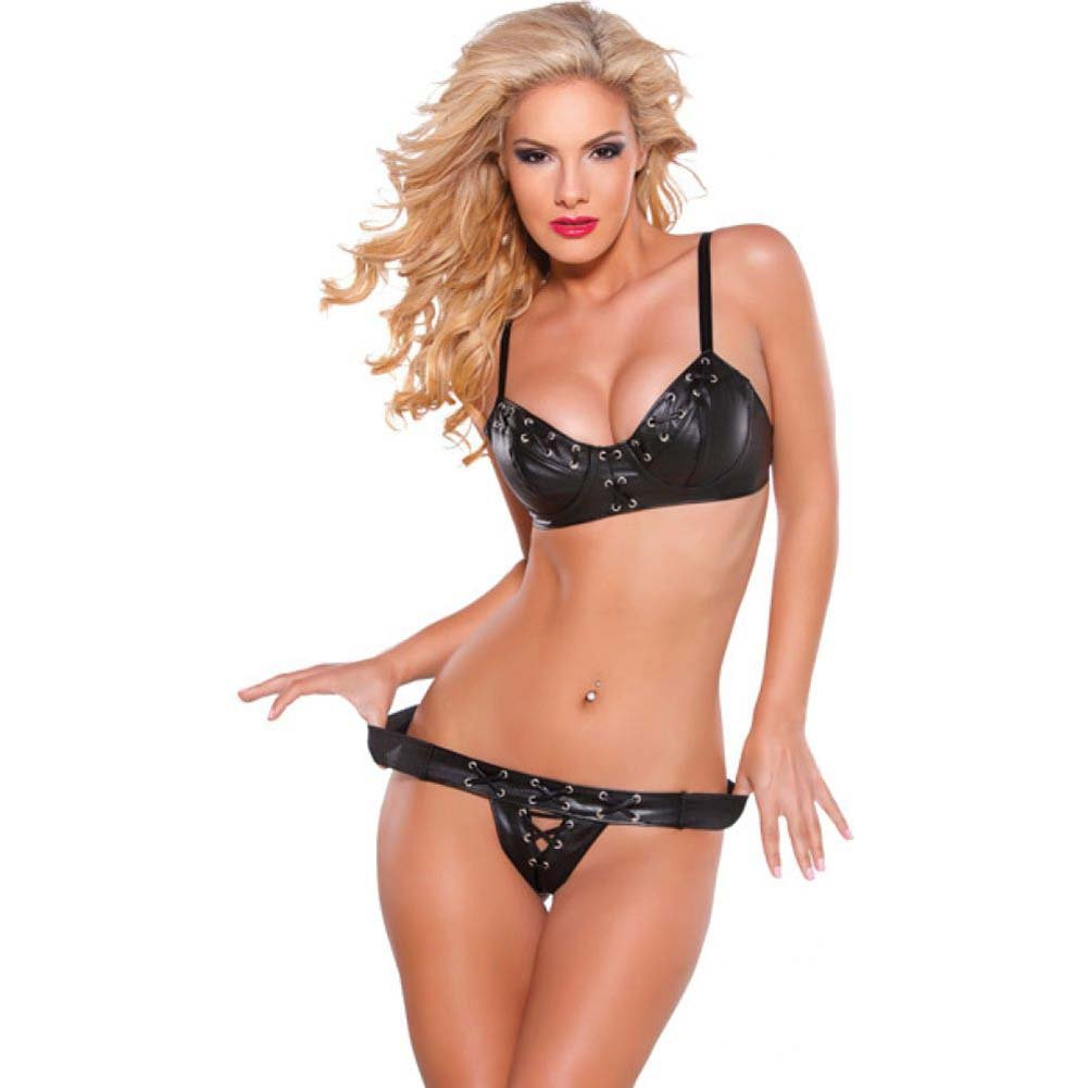 Faux Leather Bra and G-String Set with Silver Detail Black Medium - View #1