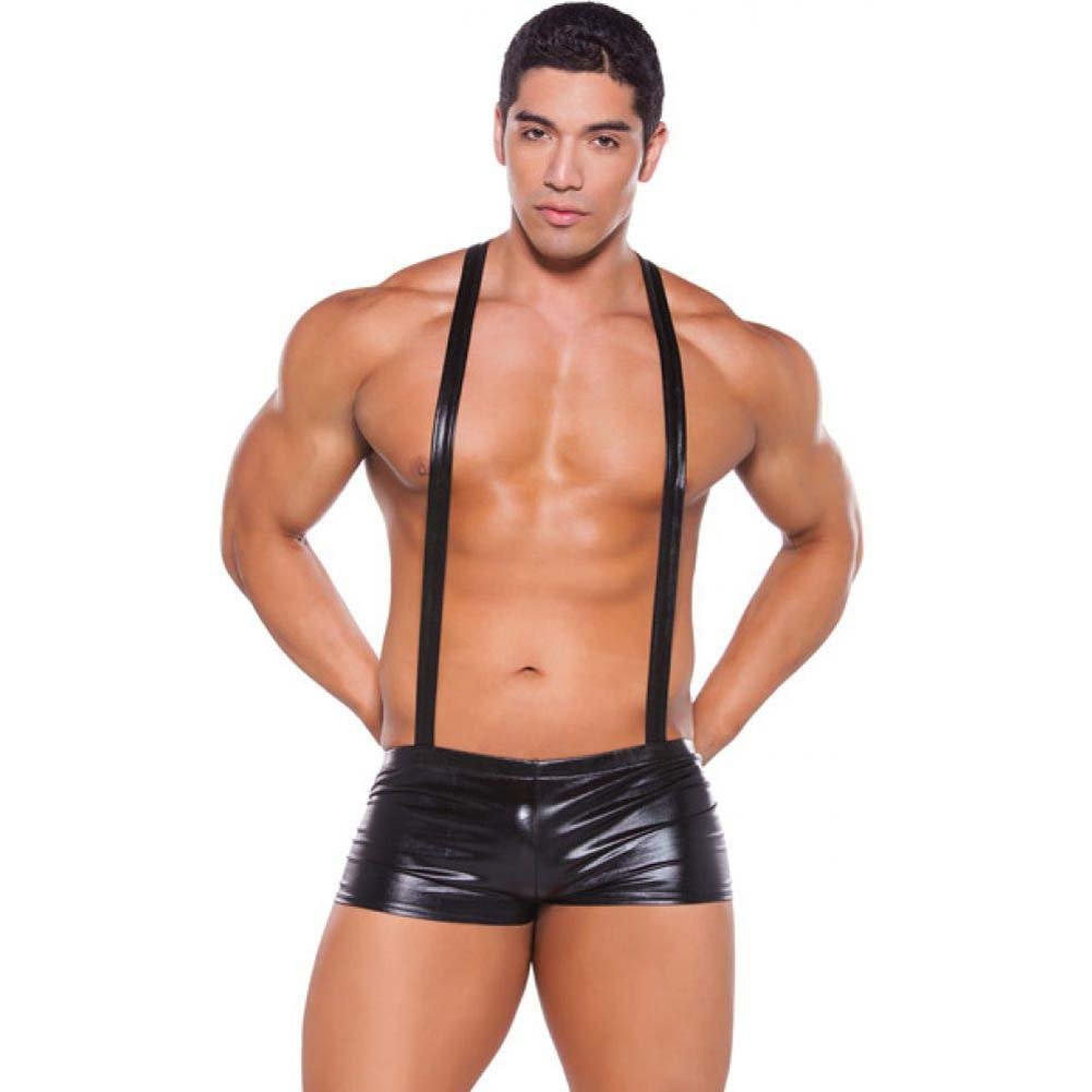 Zeus Wet Look Suspender Shorts Black One Size - View #1