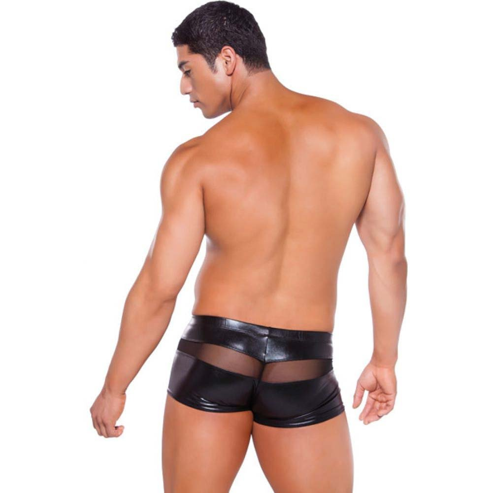 Allure Lingerie Zeus Wet Look Peek-a-Boo Shorts One Size Black - View #4