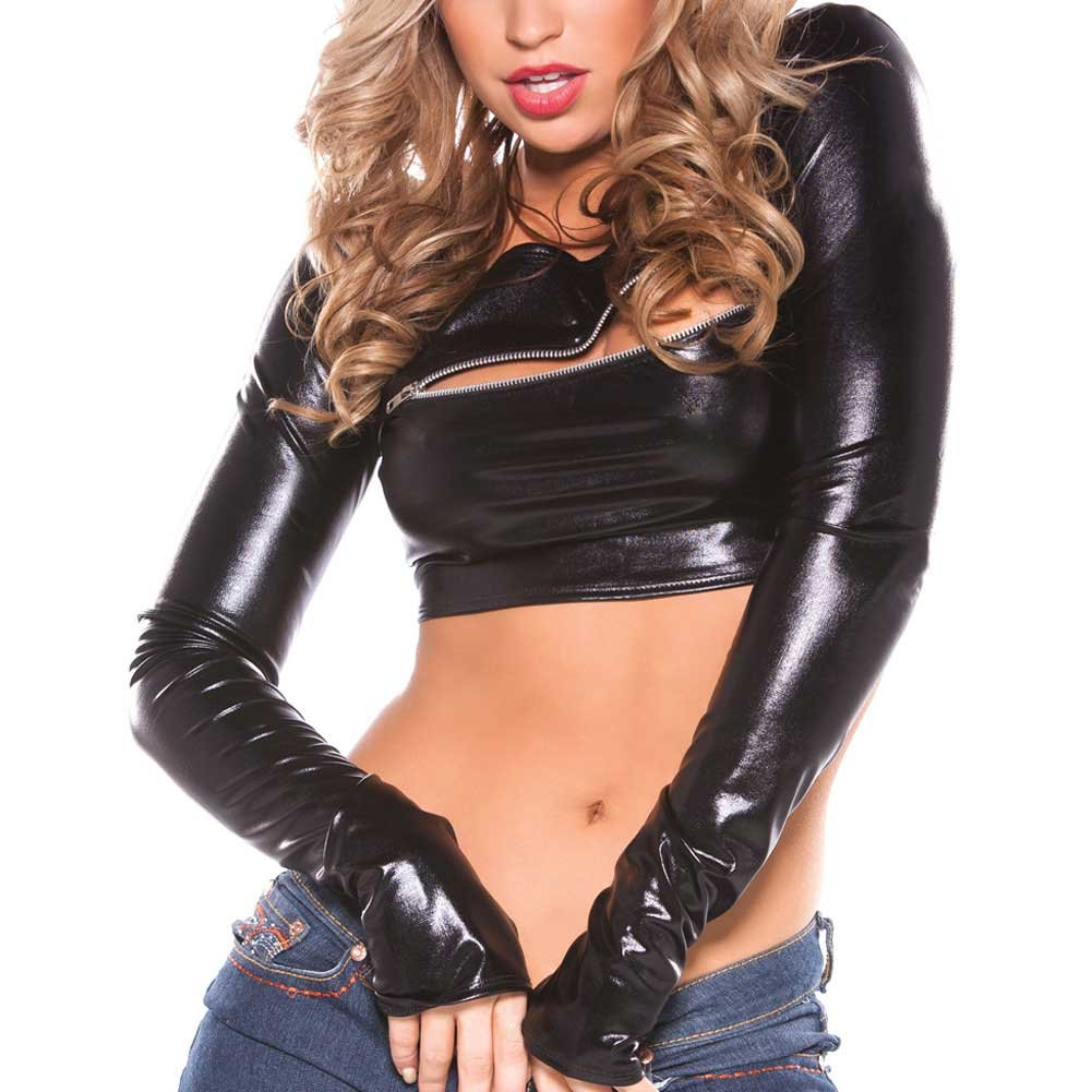Kitten Wet Look Zipper Top Black One Size - View #4