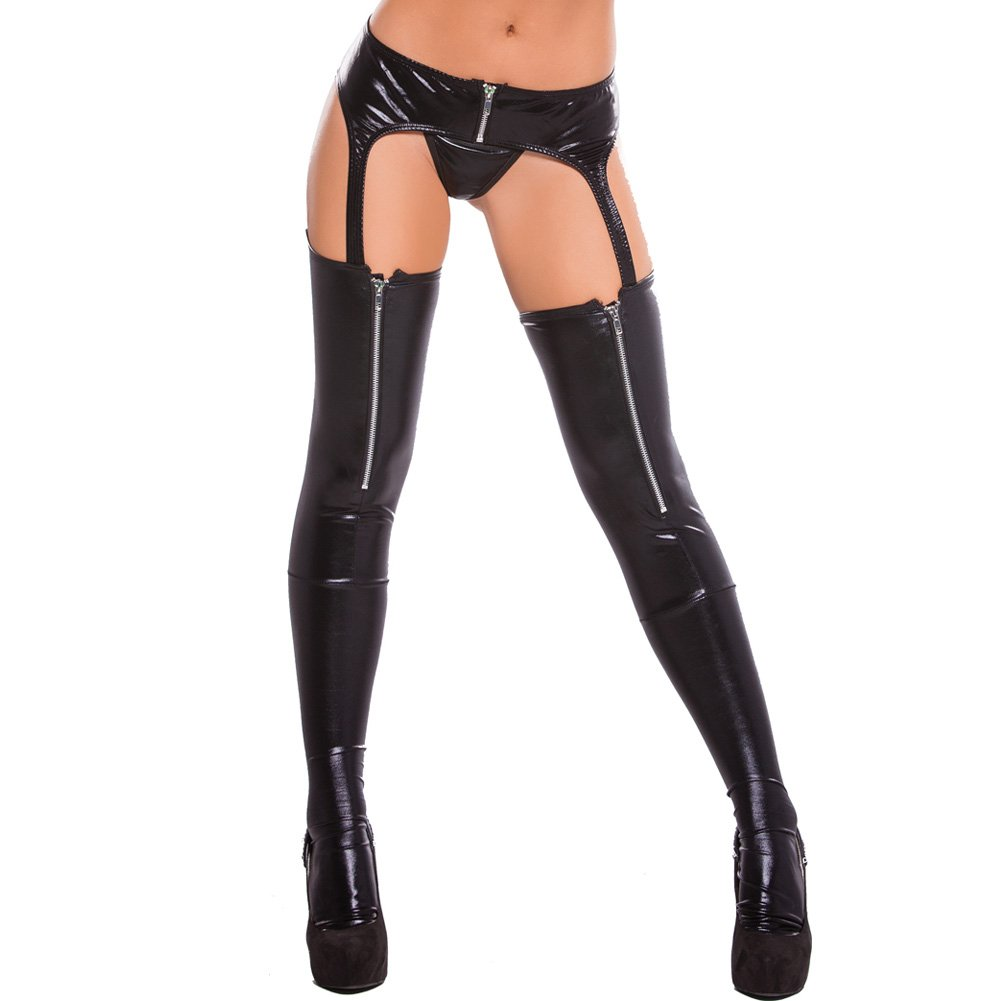 Kitten Wet Look Zipper Garter Tights Black One Size - View #1