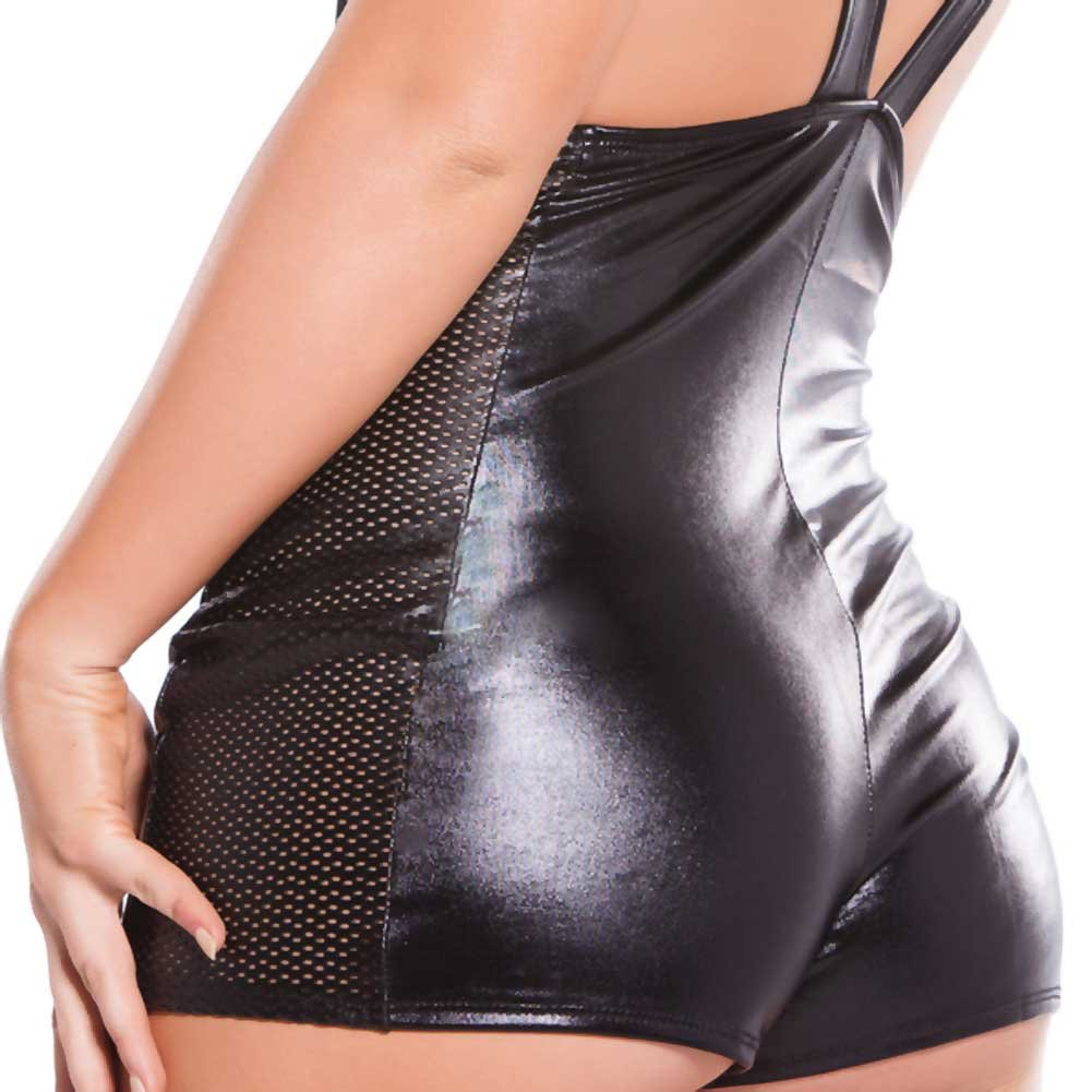 Kitten Wet Look Faux Leather Cupless Jumper Black One Size - View #4