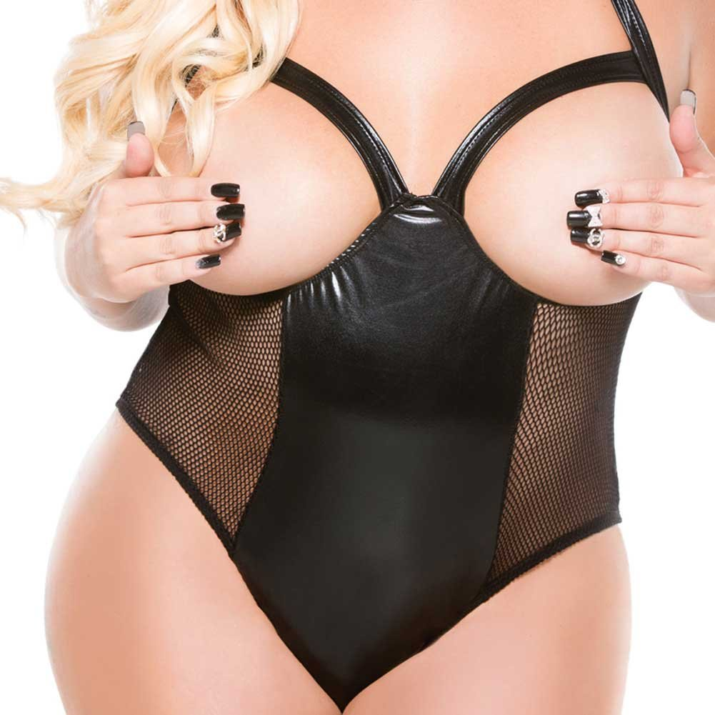 Kitten Plus Fishnet and Wet Look Cupless Halter Teddy One Size Plus Size - View #3
