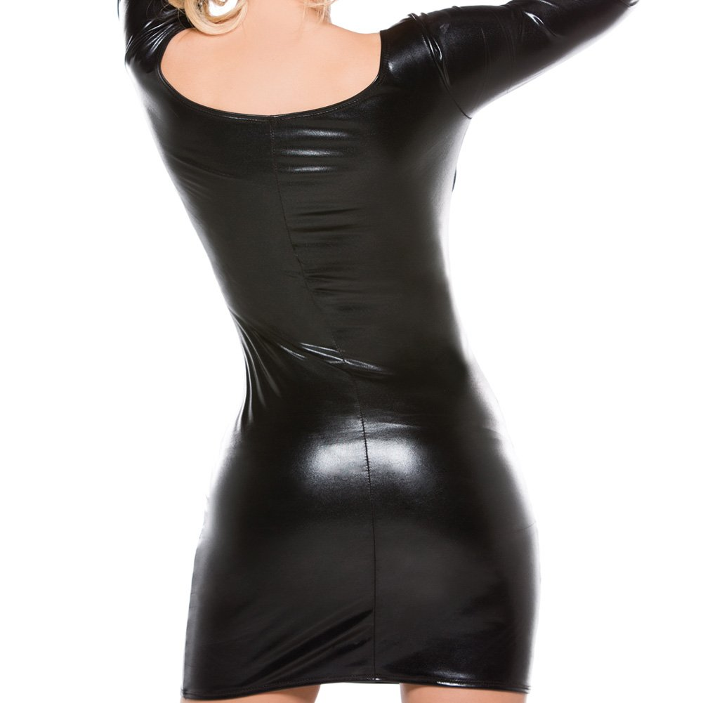 Kitten Fishnet and Wet Look Dress Black One Size - View #4