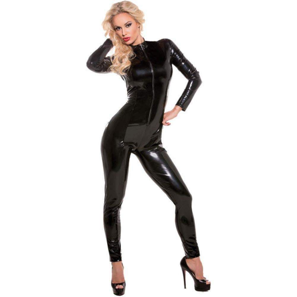 Allure Lingerie Second Skin Wet Look Whiplash Catsuit Large/Extra Large Black - View #1