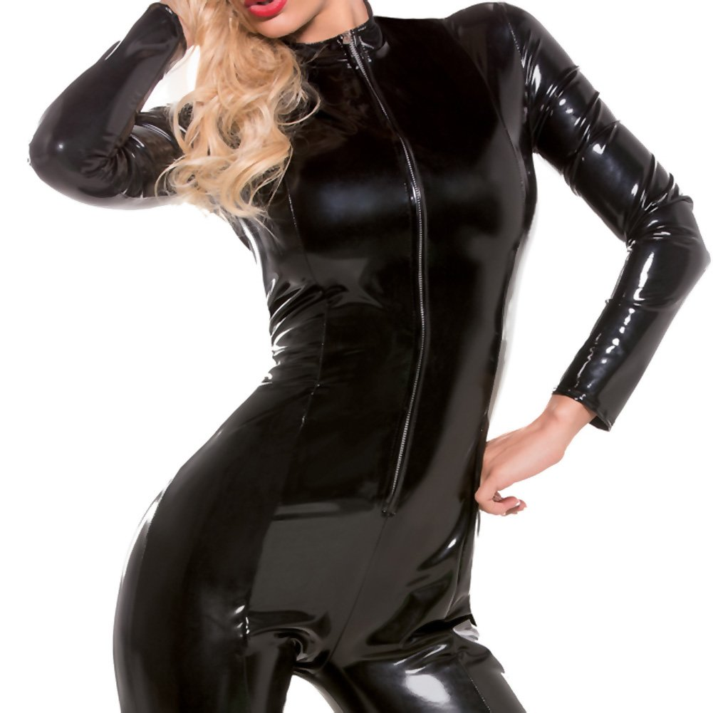 Allure Lingerie Second Skin Wet Look Whiplash Catsuit Large/Extra Large Black - View #3