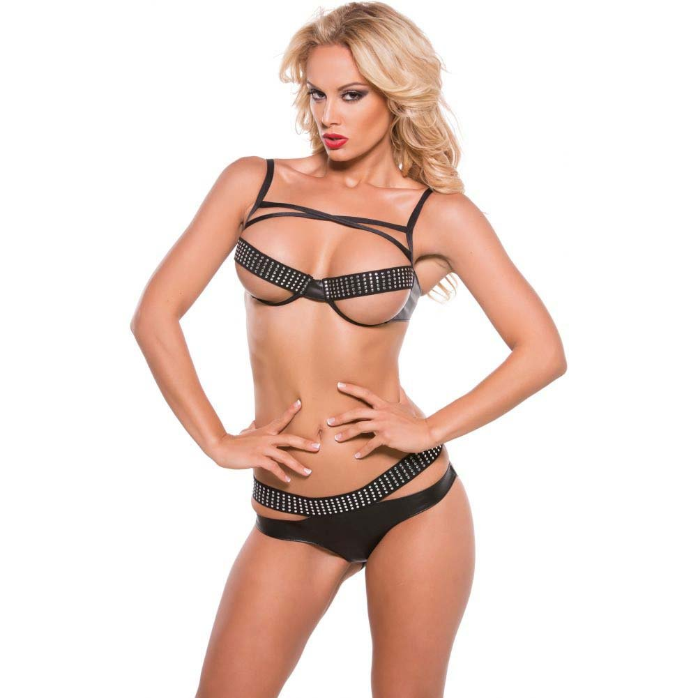 XOXO Faux Leather Bra and Panty 2 Piece Set One Size Black - View #1