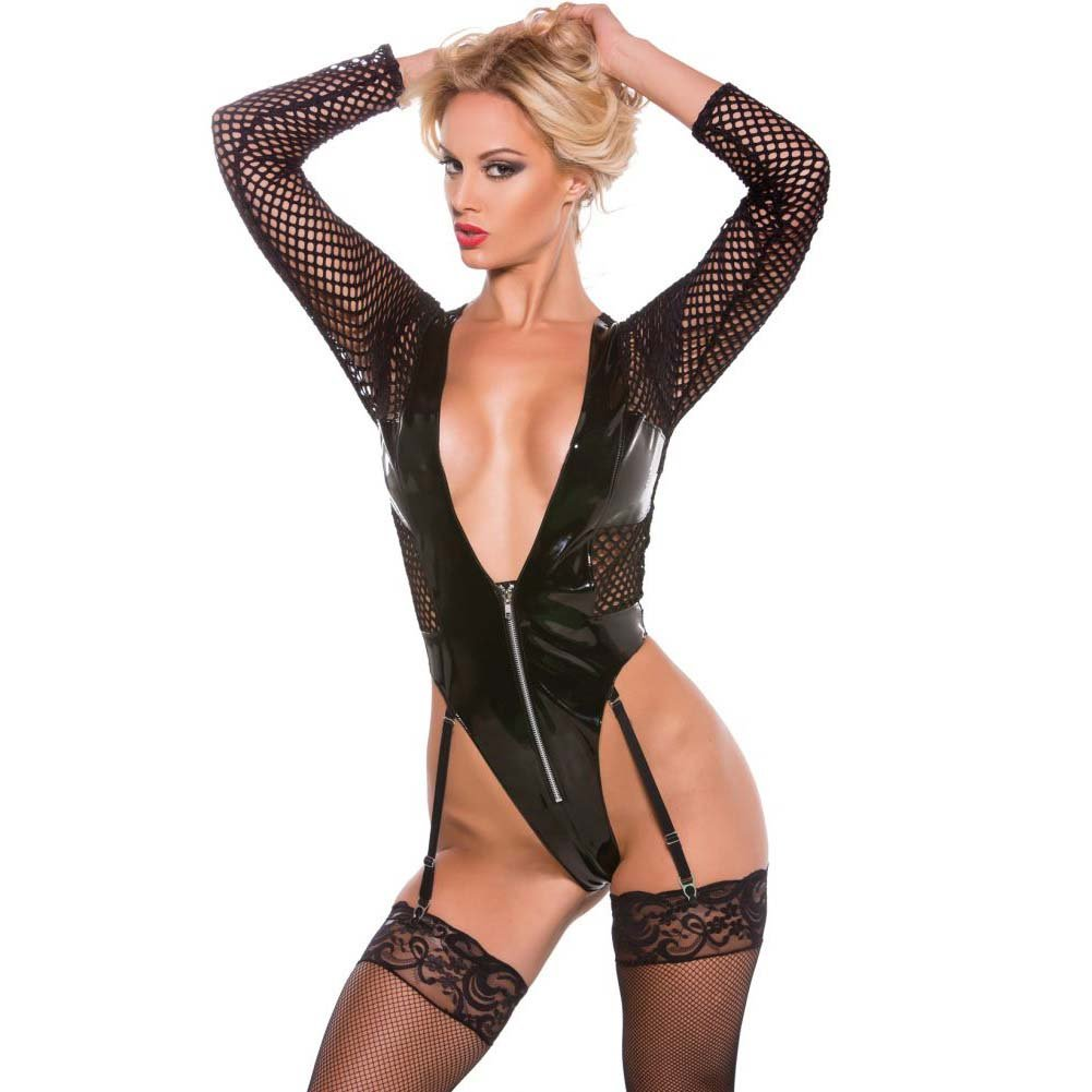 XOXO Sexy Vinyl and Fishnet Teddy One Size Black - View #1