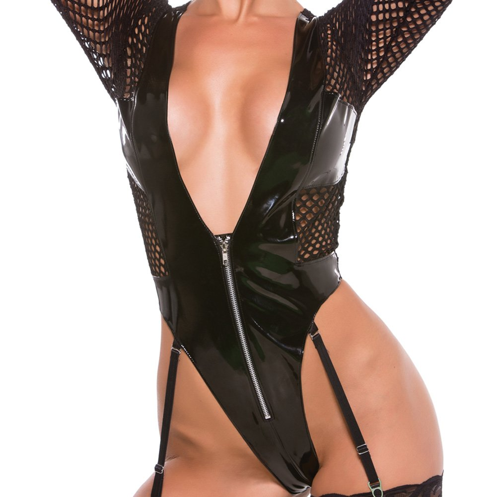 XOXO Sexy Vinyl and Fishnet Teddy One Size Black - View #3