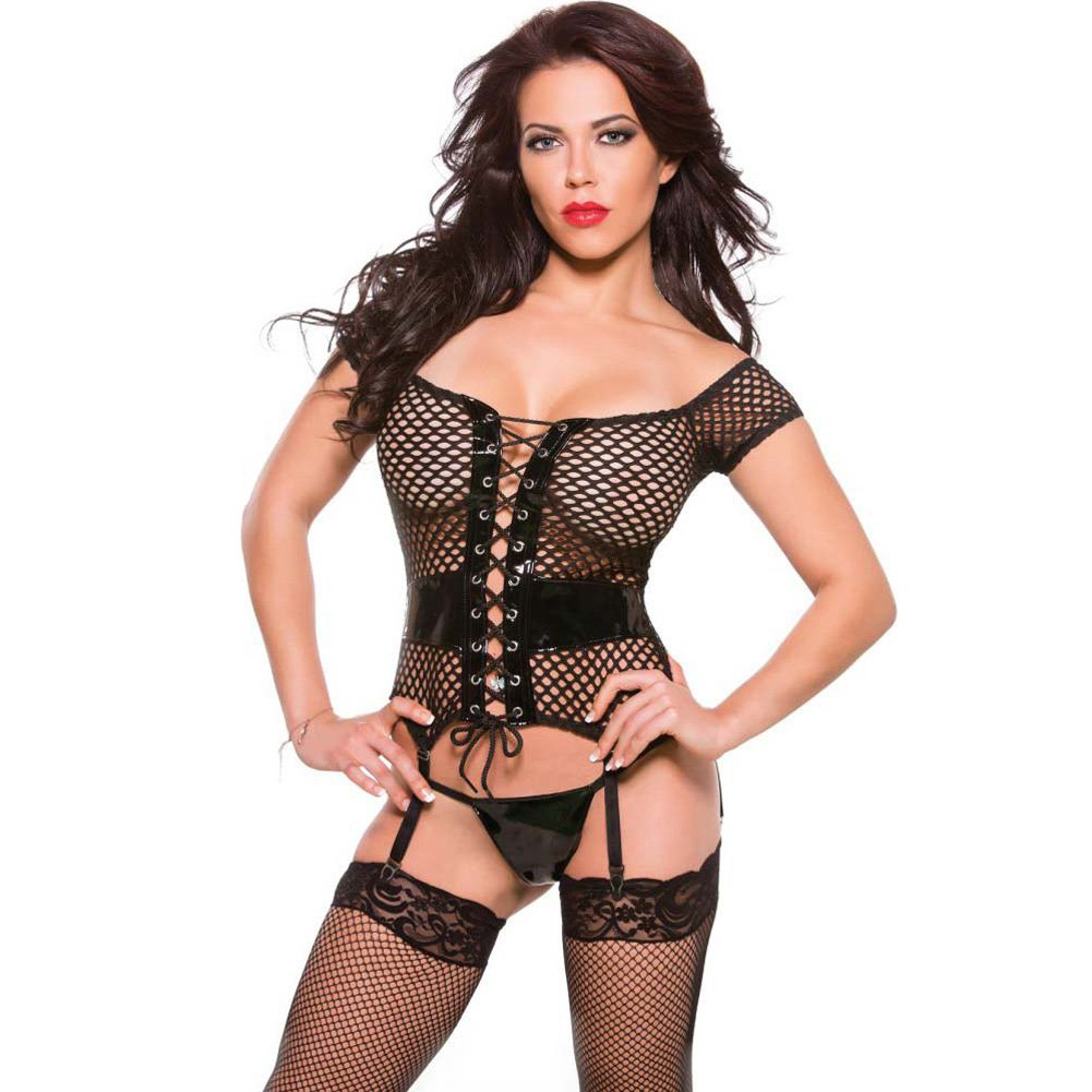 XOXO Bewitching Vinyl and Fishnet Corset One Size Black - View #1