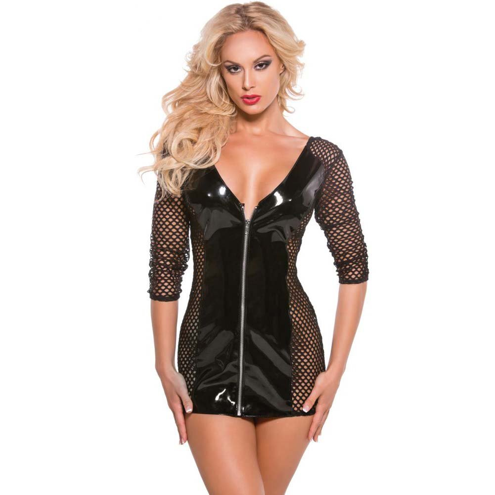 XOXO Provocative Vinyl and Fishnet Dress One Size Black - View #1