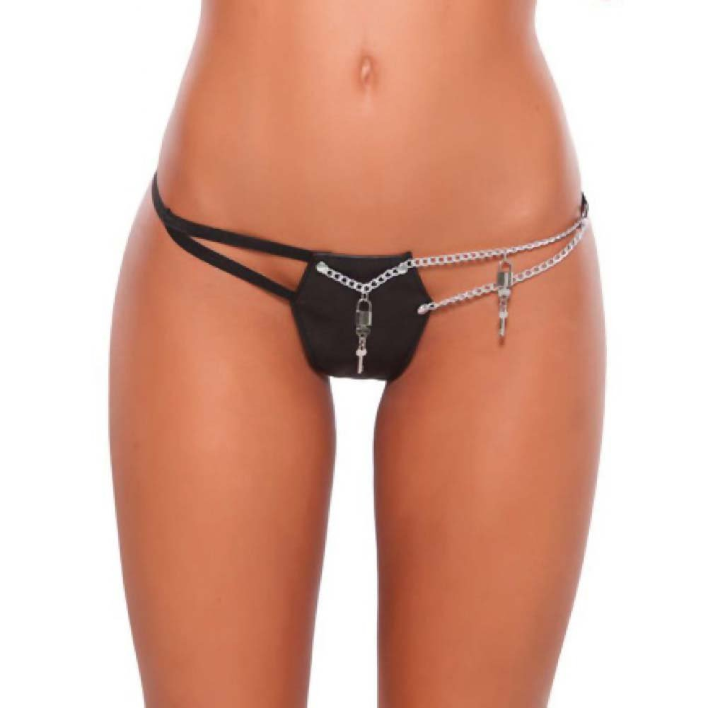 XOXO Faux Leather and Chain G-String One Size Black - View #1